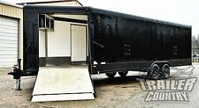 NEW 8.5 X 29 BLACKOUT WEDGE V NOSE ENCLOSED SNOWMOBILE CAR HAULER ATV TRAILER
