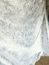 "1M white /SILVER COLOUR PAISLEY METALLIC BROCADE /JACQUARD FABRIC 58"" WIDE"