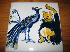 PORTUGAL PORTUGUESE PAULA REGO 1990s CAT & PEACOCK CERAMIC TILE CARREAU FLIESE