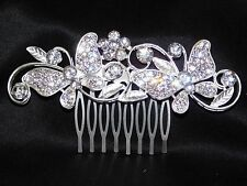 Bridal Hair Comb Silver with Clear Rhinestone Butterfly Hair Accessories