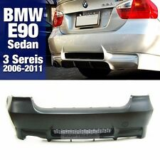 M3 Style Rear Bumper Single Muffler Diffuser For BMW 2006-11 3 Series E90 Sedan
