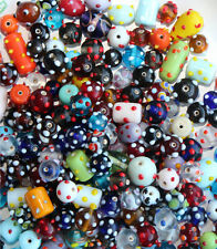NEW!  WHOLESALE LAMPWORK BEADS - MIXED COLORS, SHAPES, SIZES W/DOTS - 10 POUNDS!