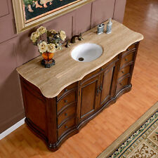 "60"" Gorgeous Travertine Stone Top White Sink Bathroom Vanity Cabinet 248T"