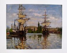 "CLAUDE MONET ""SHIPS RIDING THE SEINE AT ROUEN"" Plate Signed Lithograph"