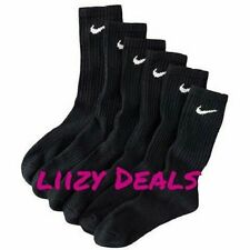 3 Pair NIKE Black ATHLETIC Socks CREW Size 10-12 .Shoe size 8-12  Men's - Women