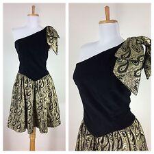 Vintage 1980s Black Gold One Shoulder Halter Velvet Bow Prom Party Dance Dress S