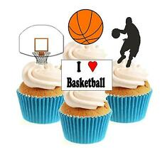 Novelty Basketball Mix 12 Edible Stand Up wafer paper cake toppers birthday