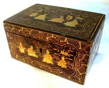 ANTIQUE CHINESE TEA CADDY * GILDING * ORIGINAL ENGRAVED PEWTER INTERIOR c.1850