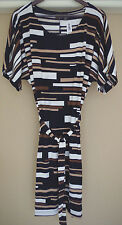 Chico's Travelers Classic Matchstick Print Dress Size 4 20 22 2XL New 3XL