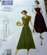 1950s VOGUE VINTAGE MODEL DRESS SEWING PATTERN 16-18-20-22 UC