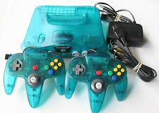 Ice Blue Nintendo 64 System TIGHT Controllers Funtastic Atomic Clear Bundle Rare