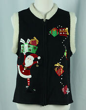 Ugly Christmas Sweater Vest Size L Santa Tacky Holiday Party Ideas Black Large