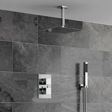 "12"" Rainfall Shower Head Arm Thermostatic Control Valve Handspray Faucet Set"