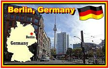 BERLIN, GERMANY, MAP & FLAG - SOUVENIR NOVELTY FRIDGE MAGNET - NEW - GIFT
