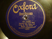ONE SIDED OXFORD 78 RECORD/ADA JONES/WALTER VAN BRUNT/ALL ALONE/ VG