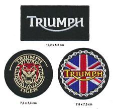 TRIUMPH Aufnäher Aufbügler Patch 3 Stück Motorrad Biker Kutte England