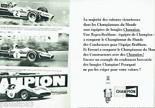 PUBLICITE ADVERTISING 066  1967   Bougies Champion Denny Hulme (2p) Jack Brabham