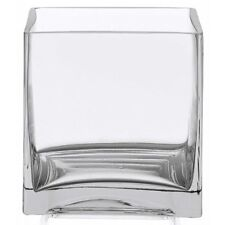 """6"""" Square Glass Vase - 6 Inch Clear Cube Centerpiece - 6x6x6 Candleholder, New,"""