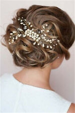 Beautiful bridal hair comb slide accessories hand wired Crystal pearl D2082