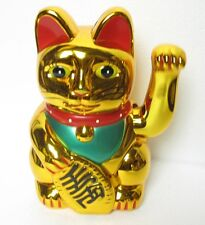 New Maneki Neko Gold Beckoning Waving Wealth Prosperity Cat Kitty Feng Shui 7""