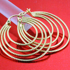 FS639 GENUINE REAL 18K YELLOW G/F GOLD SOLID CLASSIC ANTIQUE HOOP EARRINGS