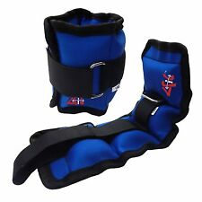 4Fit™ Adjustable Ankle Weights Pair 1 Kg Wrist Arm Leg Running Exercise