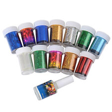 12 Colors Nail Art Transfer Foil Sticker for Nail Tips Decoration & Glue Set New