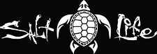 """SALT LIFE TURTLE  & SIGNATURE """" WHITE"""" UV Rated Vinyl DECAL*FREE  SHIPPING*"""