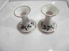 Lenox PAIR HOLIDAY DIMENSIONS CANDLESTICKS Holly Berry Gold China Candle Holder