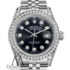 Rolex Datejust 36mm Stainless Steel Jubilee Black Color Diamond Dial Watch