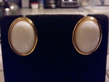 TRIFARI Goldtone with White Cabochon Stud Style Clip On Earrings
