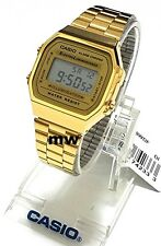 HOT CASIO VINTAGE RETRO DIGITAL A168WG-9 GOLD TONE QUARTZ ALARM LADIES WATCH NEW