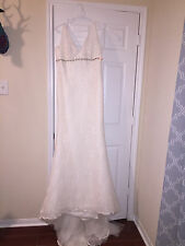 Blue by Enzoani Ivory Lace Wedding Dress Fit & Flare Size 12