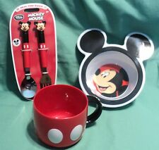 MICKEY MOUSE CHILD'S DINNER SET OF 4 BOWL , CUP FORK & SPOON NEW
