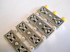 6 - 2/3 HOLES SILVER PLATED SLIDER SPACER BEADS BARS BALI TIBETAN BRACELET