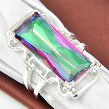 Rectangle Shaped Jewelry Rainbow Mystical Fire Topaz Gemstone Silver Ring Sz 8
