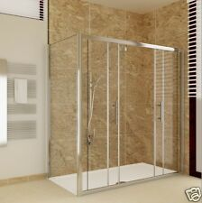 1400x760 Sliding Shower Enclosure Glass Screen Double Door+Side Panel+Stone Tray