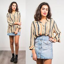 WOMENS VINTAGE 90'S STRIPED BLOUSE SHIRT SUMMER GRUNGE STYLE OPEN COLLAR 16 18