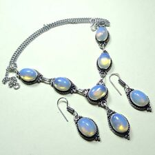 925 STERLING SILVER OVERLAY CREATED FIRE OPAL NECKLACE & EARRING SET 50 GRAMS