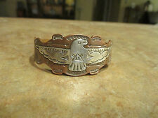 OLD Fred Harvey Era Navajo Silver Copper Applied THUNDERBIRD Cuff Bracelet