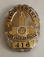 "LAPD LIEUTENANT 1-1/4"" Badge 416 Lapel Pin"