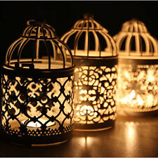 Metal Hollow Candle Holder Tealight Candlestick Hanging Lantern Birds Cage Decor