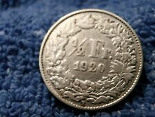 SCARCE SILVER 1/2 FRANC 1920-B EXTREMELY FINE PLUS!!