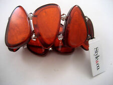 Style&co Stretch Bangle Cuff Bracelet Copper Clear Beads Shell Macy's New
