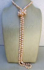 Lunga collana perle naturali barocche rosa annodate