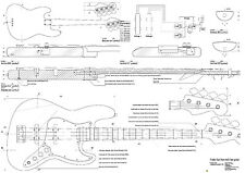 Fender Bass electric Guitar Plans -  full scale -   Large format
