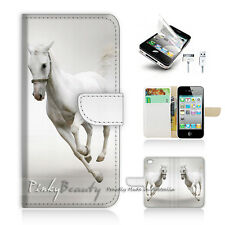 iPhone 4 4S Print Flip Wallet Case Cover! White Horse P0341