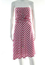 Ella Moss Pink White Striped Ruched Top Stretch Knit Sleeveless Dress Size Small