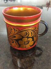 Khokhloma ( Sovet Union) Russian Handpainted   AWooden Mug Antique (1975yers)