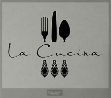 LA CUCINA WALL DECAL KITCHEN VINYL STICKER DECOR FORK SPOON KNIFE CUISINE